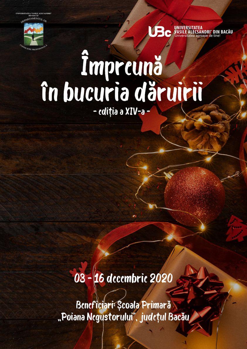 """Proiectul social-umanitar """"Împreună în bucuria dăruirii"""", ediția a XIV-a, la Universitatea """"Vasile Alecsandri"""" din Bacău"""