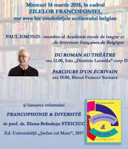 """Un prestigios  autor belgian  la Universitatea """"Ștefan cel Mare"""": Paul Emond"""