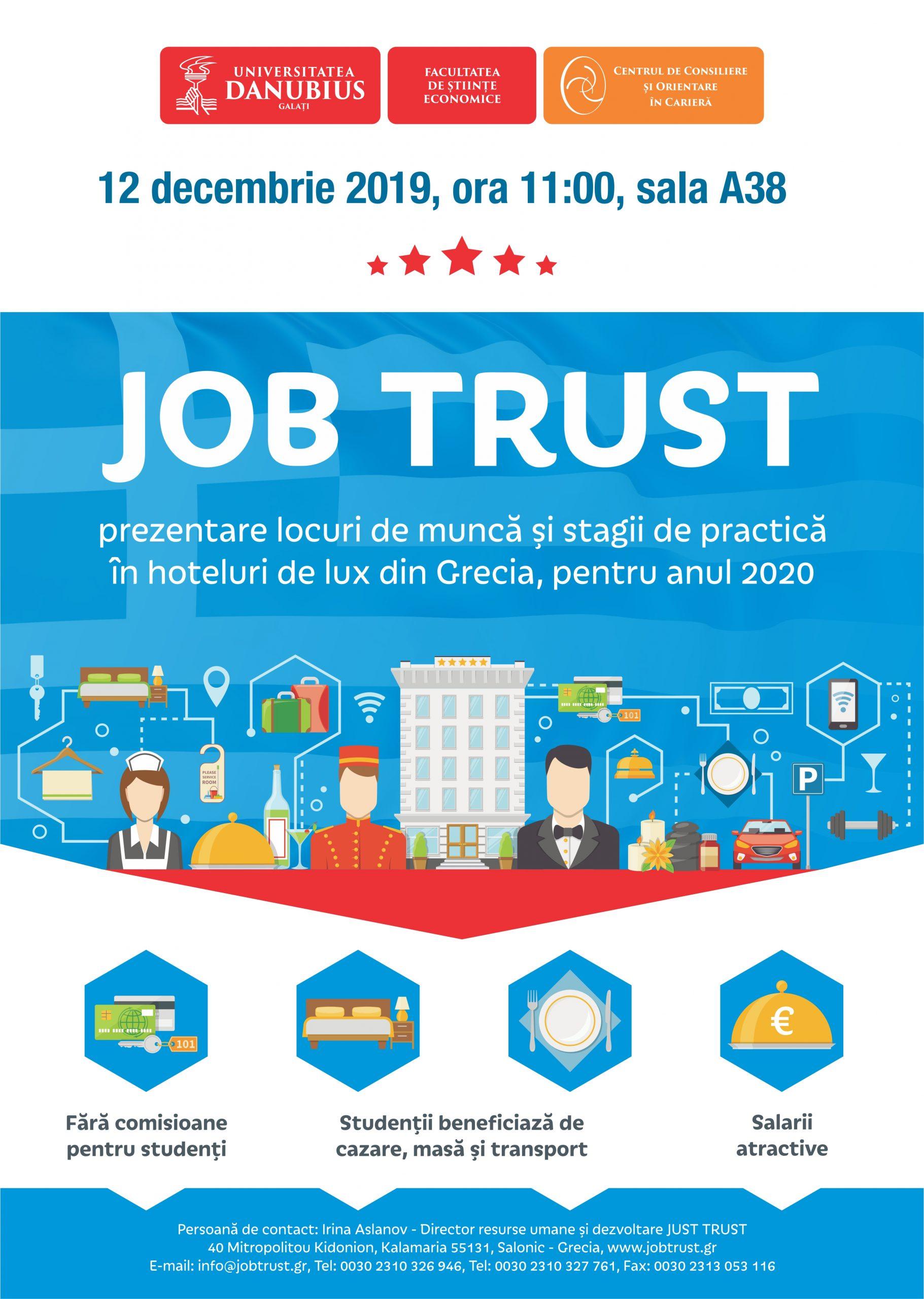 """Locuri de muncă și stagii de practică în hoteluri din Grecia, pentru studenții Universității """"Danubius"""""""