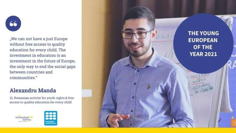 Studentul Constantin-Alexandru Manda a fost desemnat Tânărul European al Anului 2021