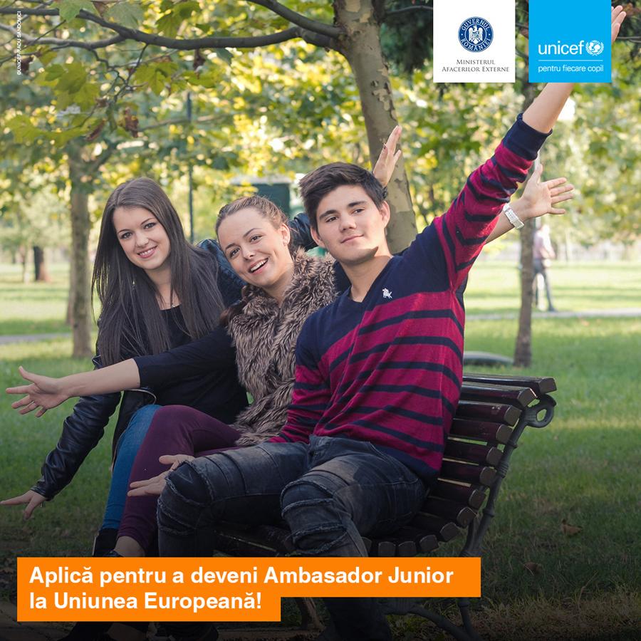 """MAE și UNICEF în România lansează proiectul """"Ambasador Junior la Uniunea Europeană"""""""