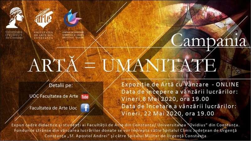 """Universitatea """"Ovidius"""" din Constanţa organizează o expoziţie cu vânzare online pentru sprijinirea spitalelor"""