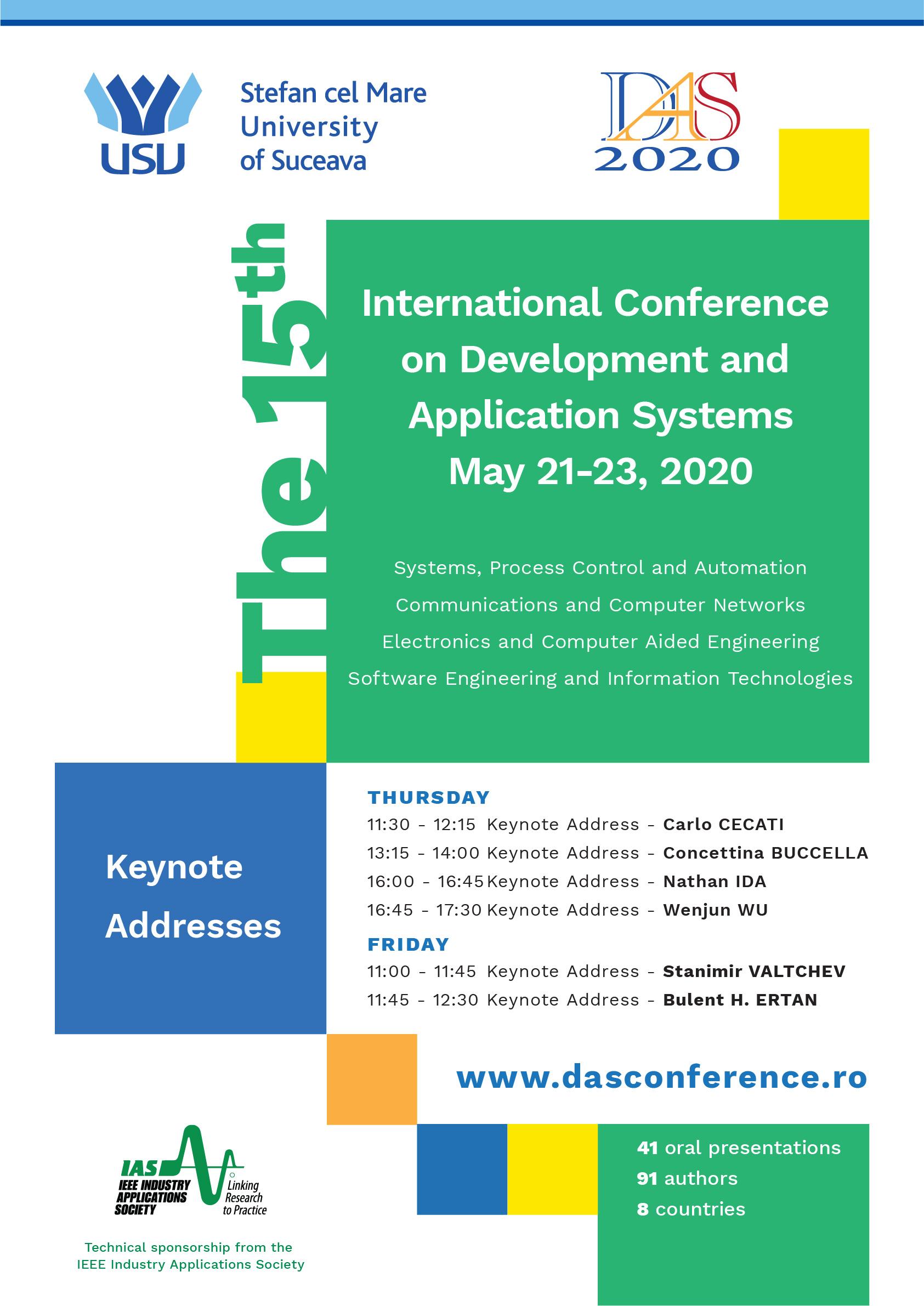 Conferința Internațională DEVELOPMENT AND APPLICATION SYSTEMS are loc online, pe 21 și 22 mai