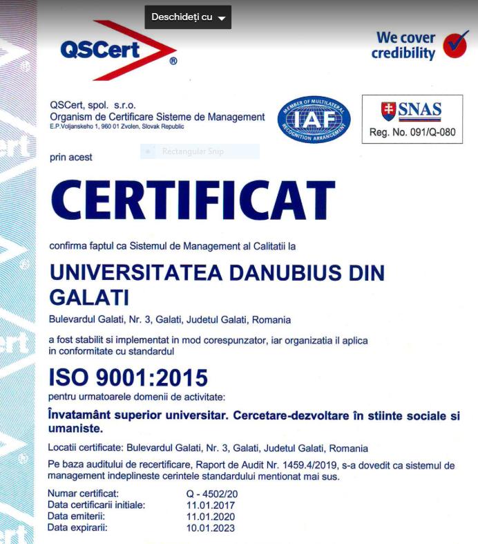Calitatea sistemului de management al Universității Danubius din Galați a fost recertificată ISO 9001:2015