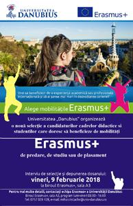 O nouă selecție pentru mobilități Erasmus+ la Universitatea Danubius