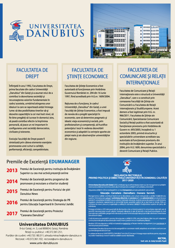 """Universitatea """"Danubius"""": 26 de ani de excelență în educație"""