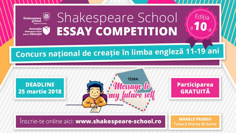 S-a dat startul înscrierilor la Shakespeare School Essay Competition – ediția #10