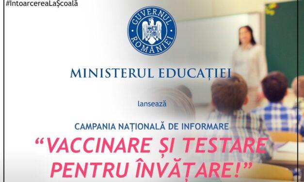 Secretarii de stat din Ministerul Educaţiei se vor deplasa în ţară pentru a promova importanţa vaccinării şi testării
