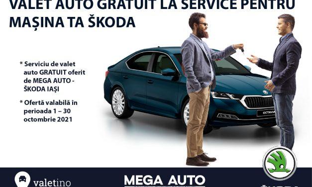 Mega Auto – ŠKODA Iași oferă GRATUIT serviciul de valet auto pentru toate operațiunile de service în luna octombrie