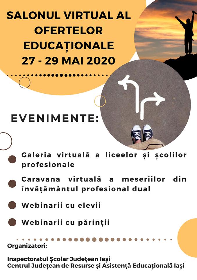 Inspectoratul Școlar Județean Iași și C.J.R.A.E organizează online Salonul Ofertelor Educaţionale pentru absolvenții de clasa a VIII-a
