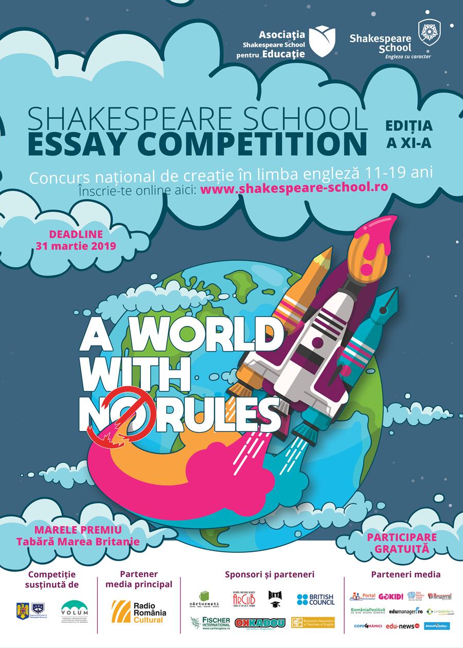 Au început înscrierile pentru Shakespeare School Essay Competition
