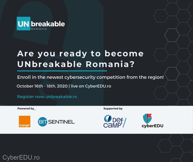 UNbreakable România, concurs naţional de securitate cibernetică pentru liceeni şi studenţi în perioada 16-18 octombrie 2020