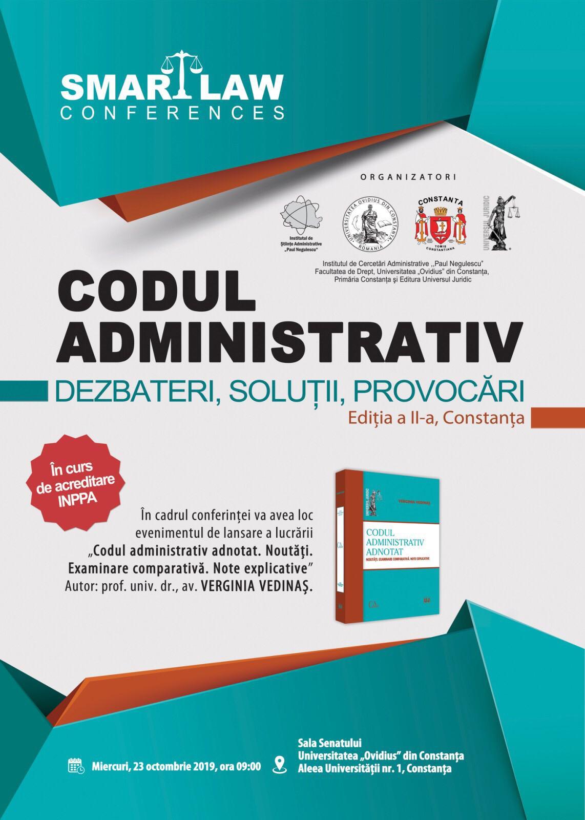 """A II-a ediție a conferinței """"Codul administrativ. dezbateri, soluții, provocări"""" la UOC"""