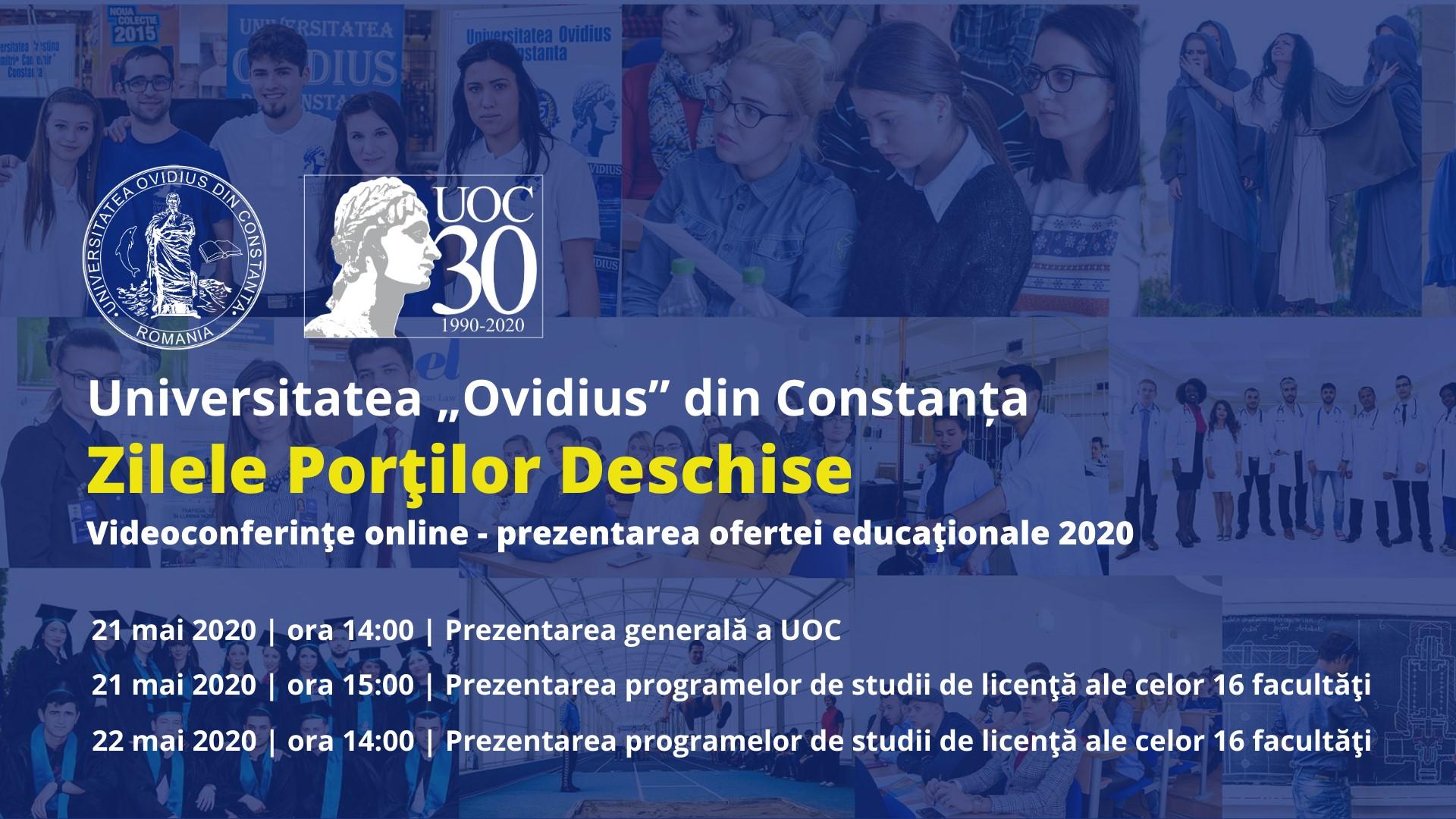 """Ziua Porţilor Deschise la Universitatea """"Ovidius"""" Constanţa, eveniment organizat online"""