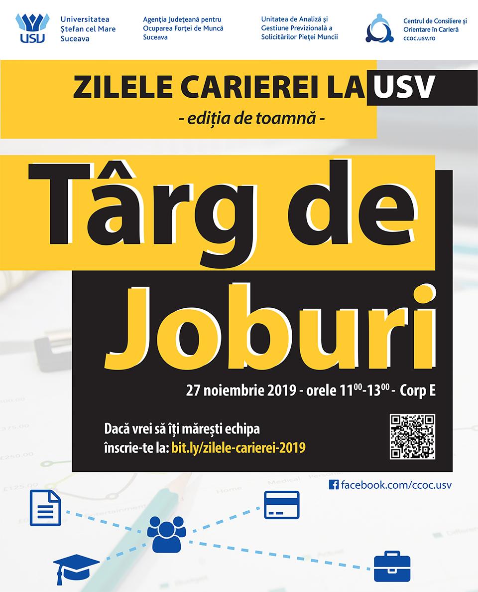 """Târg de Joburi (ediția de toamnă) la Universitatea """"Ștefan cel Mare"""" din Suceava"""