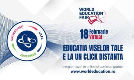 Ediţia virtuală a târgului educaţional World Education Fair are loc pe 18 februarie, între orele 14,00 şi 18,00