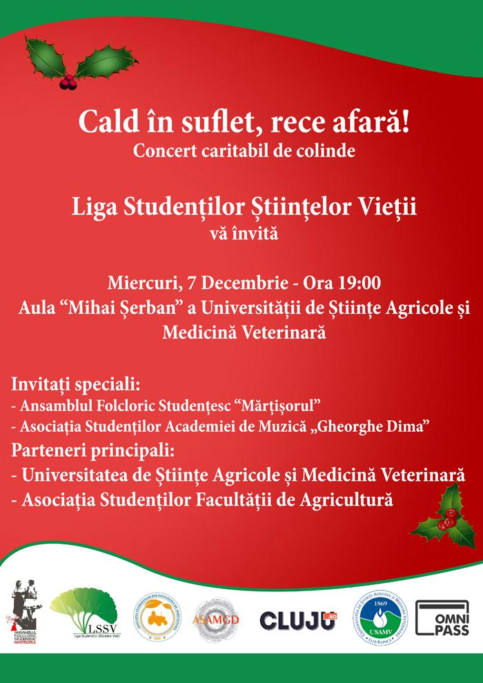 """A doua ediţie a evenimentului caritabil """"Cald în suflet, rece afară!"""", la USAMV Cluj-Napoca"""