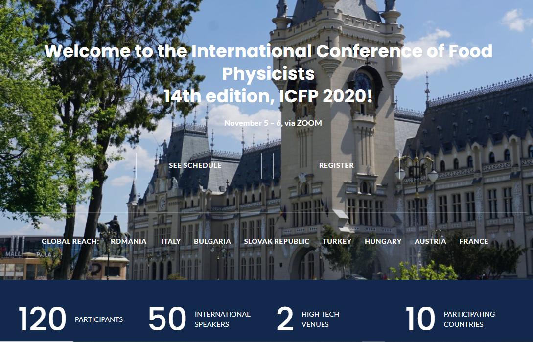 "USAMV IASI se reorienteaza si organizeaza ""Conferinta Internationala de Fizica Alimentelor"" in perioada 5-6 noiembrie 2020 via ZOOM."