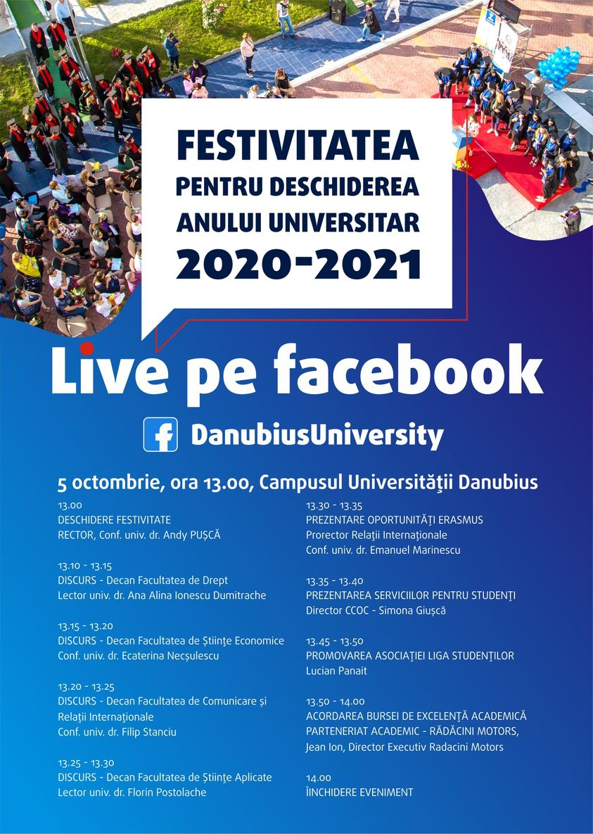 """Universitatea """"DANUBIUS"""" începe noul an universitar în sistem hibrid"""