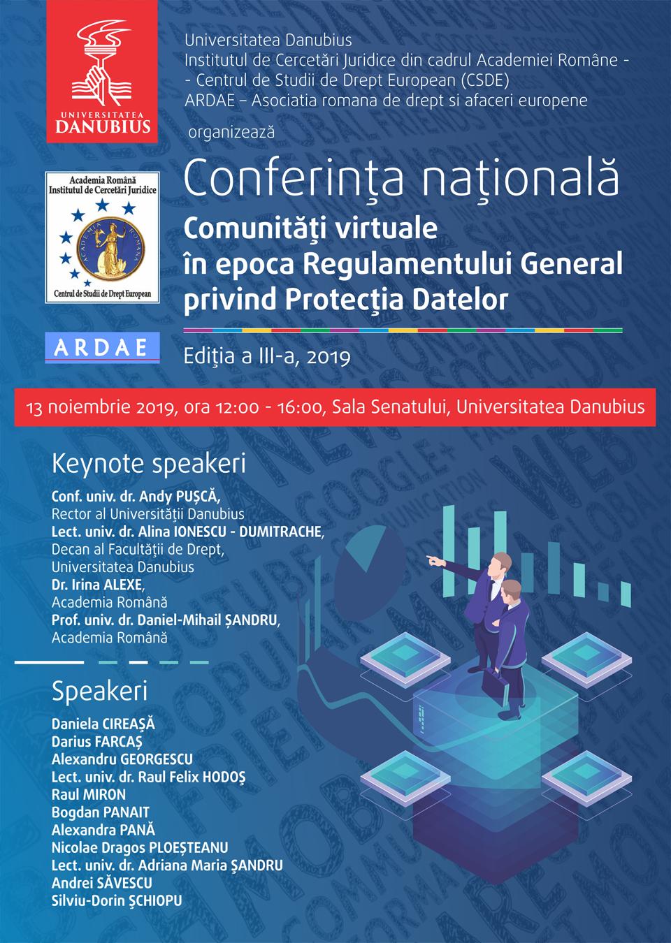 """Conferința Națională """"Comunități virtuale în epoca Regulamentului General privind Protecția Datelor"""", la Universitatea Danubius"""