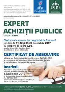Universitatea Danubius organizează programul de formare – specializare pentru ocupația Expert Achiziții Publice