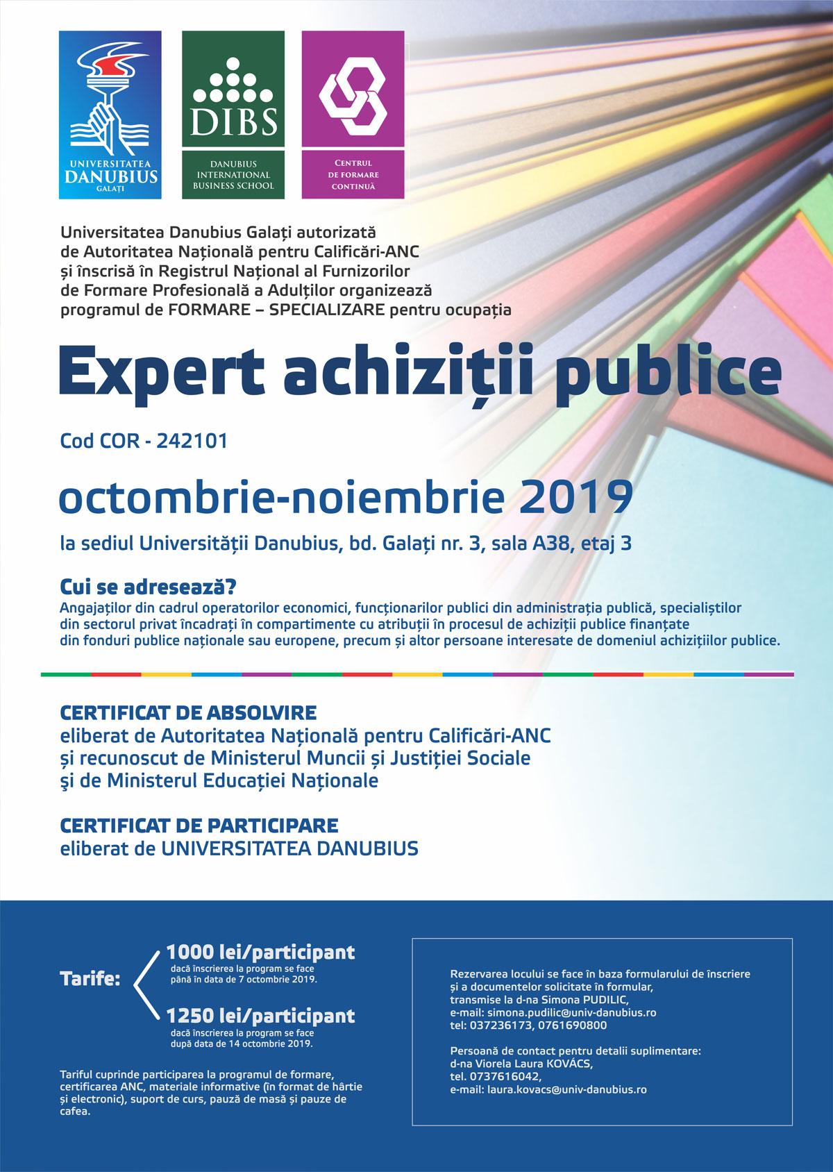 """Program de Formare – Specializare pentru ocupatia expert achiziții publice la Universitatea """"Danubius"""""""