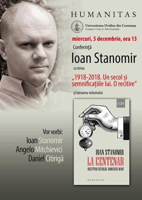 """Conferinţă cu tema """"1918-2018. Un secol și semnificațiile lui"""", la Universitatea """"Ovidius"""" din Constanța"""