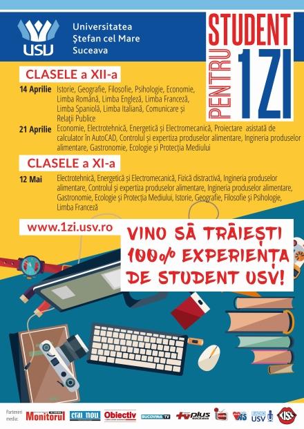 """Concursul """"Student pentru o zi"""", organizat de USV, a fost inclus în Calendarul activităților educative extrașcolare regionale și județene al MEN"""