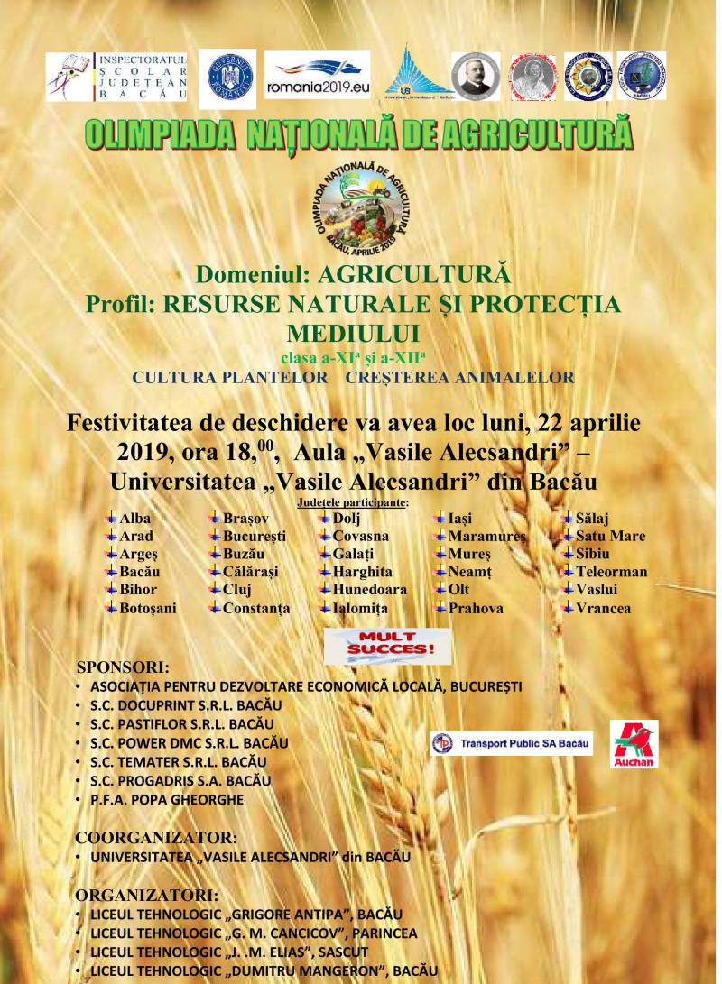 La Bacău are loc Olimpiada Națională de Agricultură