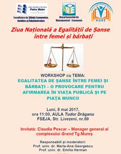 """Workshop pe tema egalității de șanse între femei și bărbați, la Universitatea """"Petru Maior"""" din Tîrgu – Mureş"""