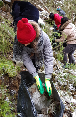 Studenţi ai USV au igienizat zona şi au refăcut marcaje în Parcul Naţional Călimani